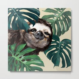 Sneaky Sloth with Monstera Metal Print