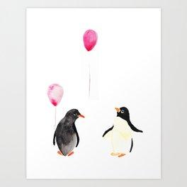 Watercolor Penguins and Balloons Art Print