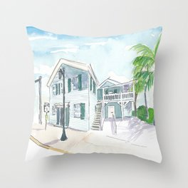 Mile 0 Marker Key West - Scenic Highway Florida Throw Pillow