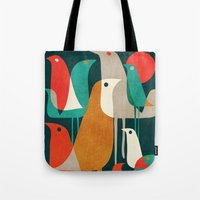 tropical Tote Bags featuring Flock of Birds by Picomodi