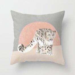 Snow Leopard Pink Grey Throw Pillow