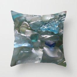 Ocean Hue Sea Glass Assortment Throw Pillow