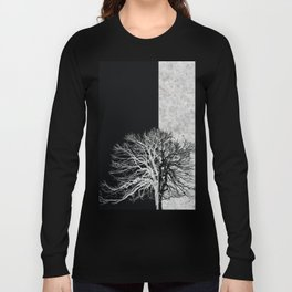 Natural Outlines - Tree Black & Concrete #295 Long Sleeve T-shirt