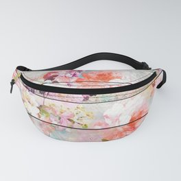 Summer pastel pink purple floral watercolor rustic striped wood pattern Fanny Pack