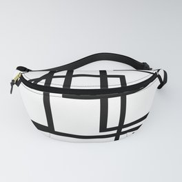 Pile Up White With Black Geometric Fanny Pack