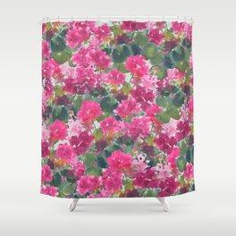 Magenta Geraniums Shower Curtain