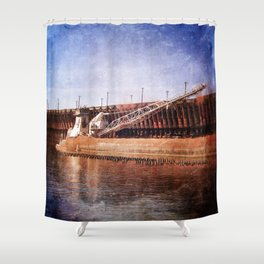 Vintage Great Lakes Freighter Shower Curtain