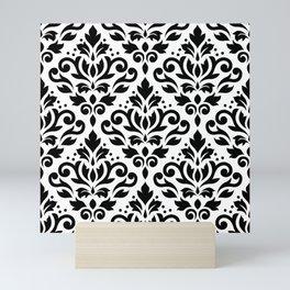 Scroll Damask Big Pattern Black on White Mini Art Print