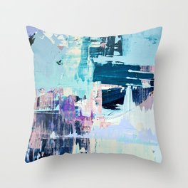 February Morning: a vibrant abstract painting in blue and purple by Alyssa Hamilton Art  Throw Pillow