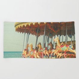 Seaside Carousel Beach Towel