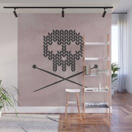 Knitted Skull / Knitting with Attitude (Black on antique rose colour) Wall Mural