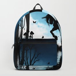 Beautiful unicorn with flying dragon in the sky Backpack