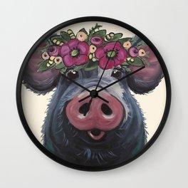 Pig Art, LuLu pig with flower crown art Wall Clock