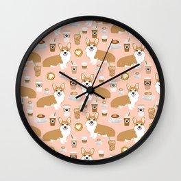 Corgi coffee welsh corgis dog breed pet lovers pink corgi crew pet lovers Wall Clock