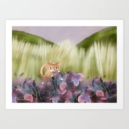 Field Mouse in Hydrangea print Art Print