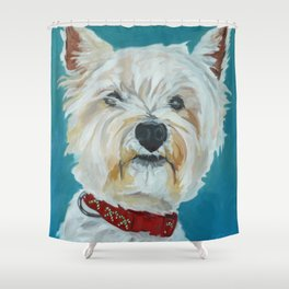 Jesse the Beautiful West Highland White Terrier Dog Portrait Shower Curtain