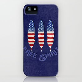 American Flag Stars and Stripes Free Spirit Feather iPhone Case