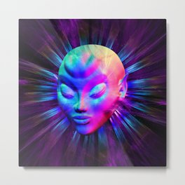 Alien Meditation on Rainbow Colors Metal Print