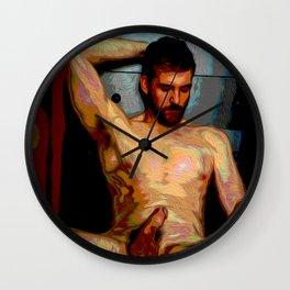 Male Oil Nude Wall Clock