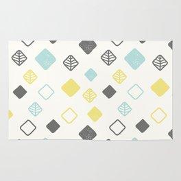 Aqua gray yellow abstract geometrical diamond pattern Rug