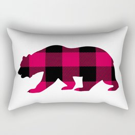 Buffalo Plaid Bear Rectangular Pillow