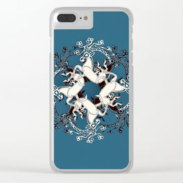 Celtic or Viking Deer Pattern - Teal Clear iPhone Case