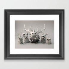White Monsters Framed Art Print