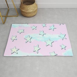 Sweet Pastel Stars And Clouds! Rug