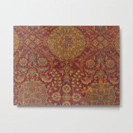 Boho Funky III // 16th Century Distressed Red Green Blue Flowery Colorful Ornate Rug Pattern Metal Print