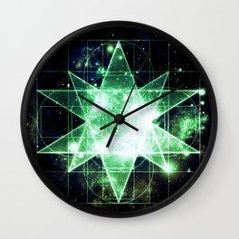 Sacred Geometry Green Midnight Blue Galaxy Wall Clock