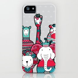 Doodle Animal Friends Pink & Grey iPhone Case