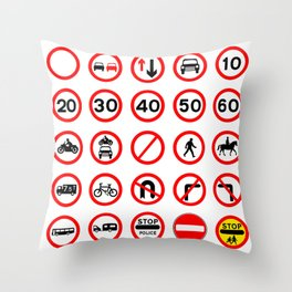 Traffic Sign Collection Throw Pillow