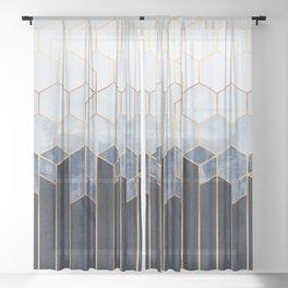 Soft Blue Hexagons Sheer Curtain