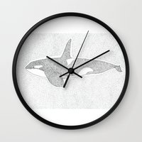 killer whale Wall Clocks featuring Killer Whale by Michaela Parry