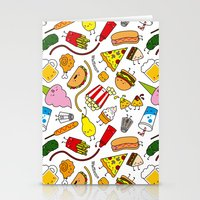 junk food Stationery Cards featuring Junk food doodle by Waffleme & Co.