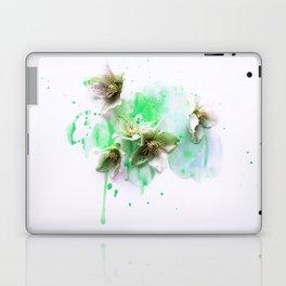 Hellebores on green water colors Laptop & iPad Skin