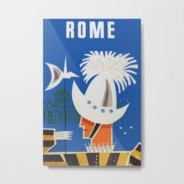 Retro Rome Italy Travel Poster Metal Print