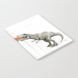 T-Rex Dinosaur Rainbow Puke Taste the Rainbow Watercolor Notebook