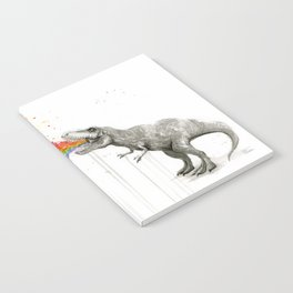 T-Rex Dinosaur Rainbow Puke Taste the Rainbow Watercolor Notebook