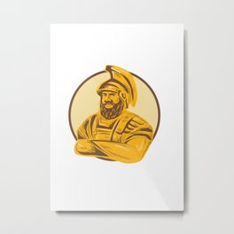 King Agamemnon Arms Crossed Circle Drawing Metal Print