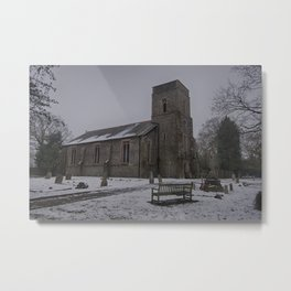 Dunkirk Church In Winter Metal Print
