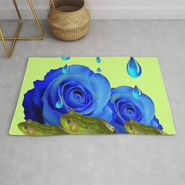 DECORATIVE BLUE SURREAL DRIPPING ROSES & GREEN FROGS Rug