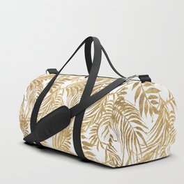 Elegant tropical gold white palm tree leaves floral Duffle Bag