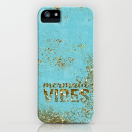 Mermaid Vibes - Gold Glitter On Teal iPhone Case