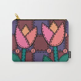 Retro Doodle Tulip Quilt - Burgundy Purple Pink Carry-All Pouch
