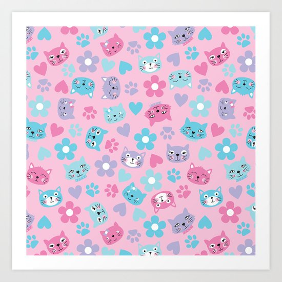 Kitty Cat Pattern by Everett Co Art Print