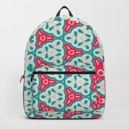 Origami Paper Cyan and Red Triangles Backpack