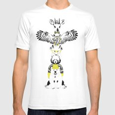 Hipster Totem Mens Fitted Tee White MEDIUM