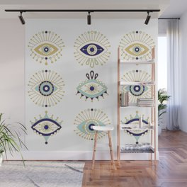Evil Eye Collection on White Wall Mural