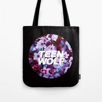teen wolf Tote Bags featuring Teen Wolf by harrystyless